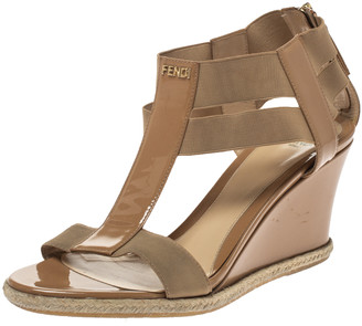 Fendi Beige Patent Leather And Stretch Fabric Carioca Wedge Espadrille Sandals Size 37