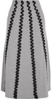 Kenzo Appliquéd Wool Midi Skirt - Light gray