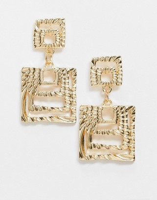 Pieces Square design drop earrings