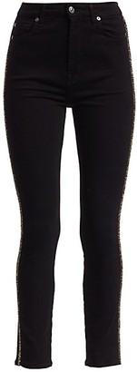 7 For All Mankind Aubrey High-Rise Caviar Racing Stripe Skinny Jeans
