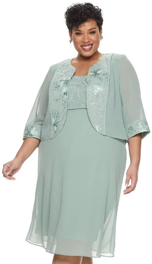 Plus Size Floral Embroidered Dress & Jacket Set