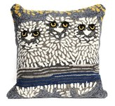 "Liora Manné Frontporch Natural Owls Pillow Blue - (18""x18"") Square"