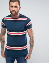 Pull&Bear T-Shirt With Panel Stripes In Blue