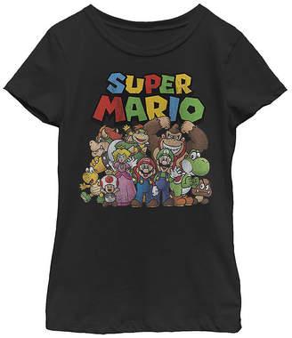 Fifth Sun Nintendo Super Mario Full Cast Group Shot Classic Girls Crew Neck Short Sleeve Graphic T-Shirt - Preschool / Big Kid Slim