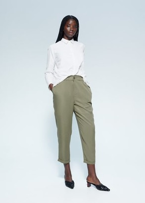 MANGO Violeta BY Elastic waist pants khaki - S - Plus sizes