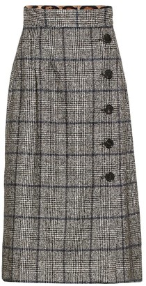 Dolce & Gabbana Checked alpaca and cotton-blend skirt