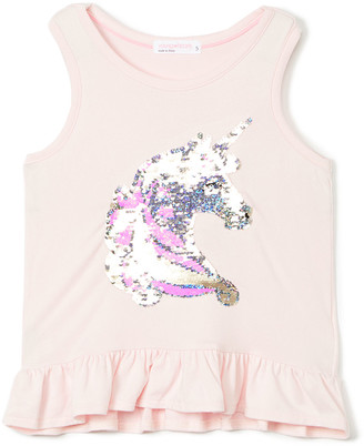 Young Hearts Girls' Tank Tops PINK - Pink Unicorn Sequin Ruffle Tank - Toddler & Girls