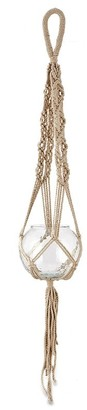 Nkuku Basua Macrame Hanging Planter - Large - White/Glass