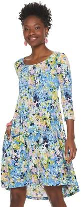 Nina Leonard Women's High-Low Trapeze Dress