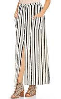 Billabong Honey Striped Pocket Button-Front Maxi Skirt