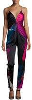 Diane von Furstenberg Rylen Tie-Front Stretch-Silk Jumpsuit, Virtuoso Amethyst