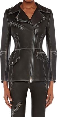 Alexander McQueen Contrast-Stitch Lambskin Leather Biker Jacket