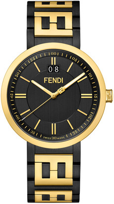 Fendi Men's 39mm IP Black/Yellow Gold Watch w/ FF Bracelet