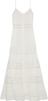 Alice + Olivia Meg Pintucked Embroidered Cotton-voile Maxi Dress