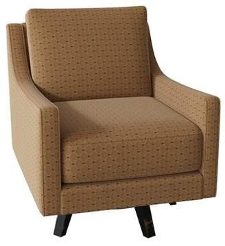 SAM. Moore Cosmic Swivel Armchair Moore Body Fabric: Tiffanys Garnet, Leg Color: Aged Black, Cushion Fill: Deluxe