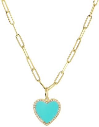 Kamaria Turquoise Heart Necklace With Diamonds On Paperclip Link Chain