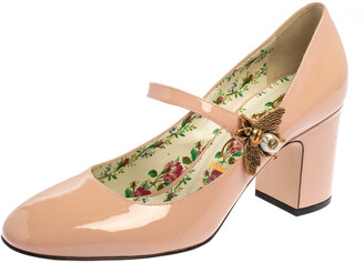 Gucci Pink Patent Leather Lois Bee Mary Jane Pumps Size 37