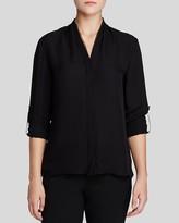 Elie Tahari Anabella Roll Sleeve Silk Blouse