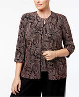 Alex Evenings Plus Size Metallic Paisley-Print Jacket & Shell