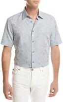 Brioni Floral Jacquard Short-Sleeve Sport Shirt, Light Blue