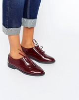 Daisy Street Lace Up Burgundy Flat Shoes
