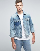 Calvin Klein Jeans Denim Jacket with Distressing