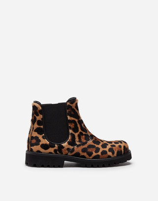 Dolce & Gabbana Leopard-Print Pony Hair Beatle Boots