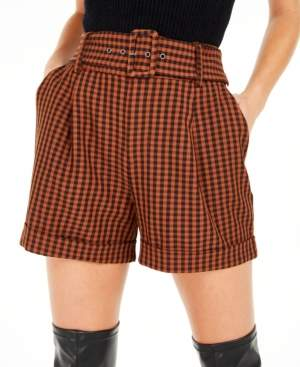 Bar III Becca Tilley x Powersuit Gingham Belted Shorts, Created For Macy's
