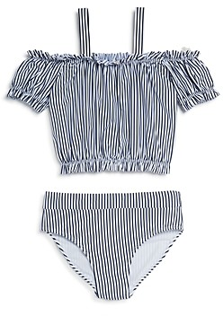 HABITUAL KIDS Girls' Skye Off-the-Shoulder Two-Piece Swimsuit - Little Kid