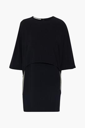 Stella McCartney Krista Cape-effect Fringed Stretch-cady Mini Dress