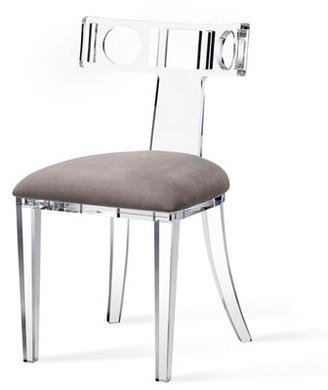 Interlude Ardsley Upholstered Velvet Side Chair in Clear/Nimbus Gray