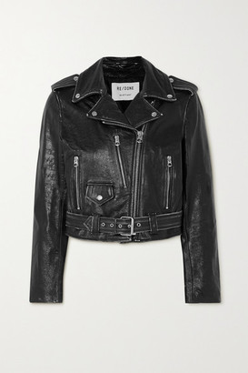 RE/DONE Distressed Leather Jacket - Black