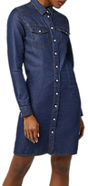 Warehouse Denim Western Shirt Dress, Dark Wash