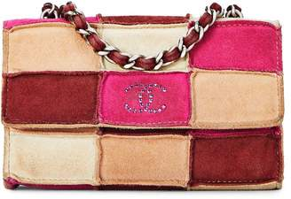 Chanel Pink Suede Patchwork Flap Crossbody Mini