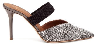 Malone Souliers Maisie 85 Point-toe Woven Mules - Silver