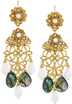 Jose & Maria Barrera Golden Abalone & Crystal Drop Earrings