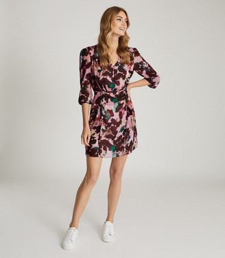 Reiss Josephine - Floral Printed Midi Dress in Pink