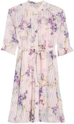 Nanette Nanette Lepore Pleated Waist Tie Shirt Dress