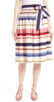 Kate Spade Women's Berber Stripe Sash Tie Midi Skirt