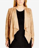 City Chic Trendy Plus Size Faux-Suede Fringe-Trim Jacket