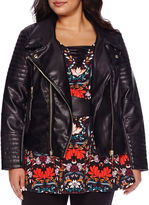 Bisou Bisou Moto Pleather Jacket - Plus