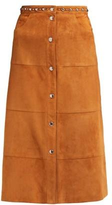 Miu Miu Studded Suede Skirt - Womens - Brown