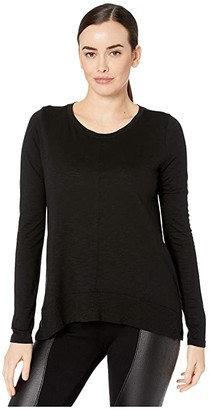 Lilla P Flame Modal Long Sleeve Rib Bottom Tee (Black) Women's Clothing