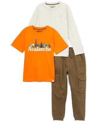 Avalanche Boys' Casual Pants orange/oatmeal/olive - Orange 'Avalanche' Logo Tee Set - Toddler