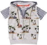 Fred Mello Palms Cotton Sweatshirt W/ Stripe Jersey