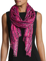 Neiman Marcus Snake-Print Wrap Scarf, Pink/Black