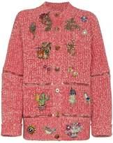 Alexander McQueen round zip rhinestone cardigan