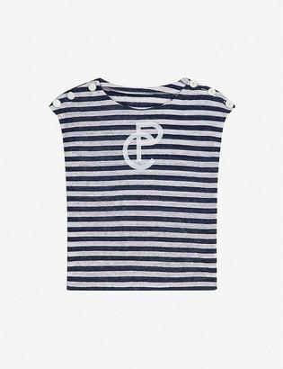 Claudie Pierlot Logo-print striped linen T-shirt
