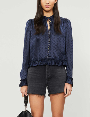 The Kooples Ruffle trim paisley satin top
