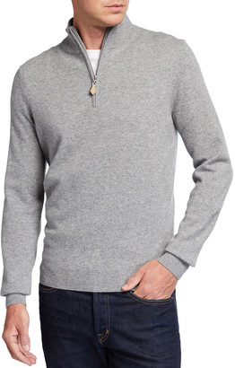 Neiman Marcus Men's Cloud Cashmere Quarter-Zip Sweater